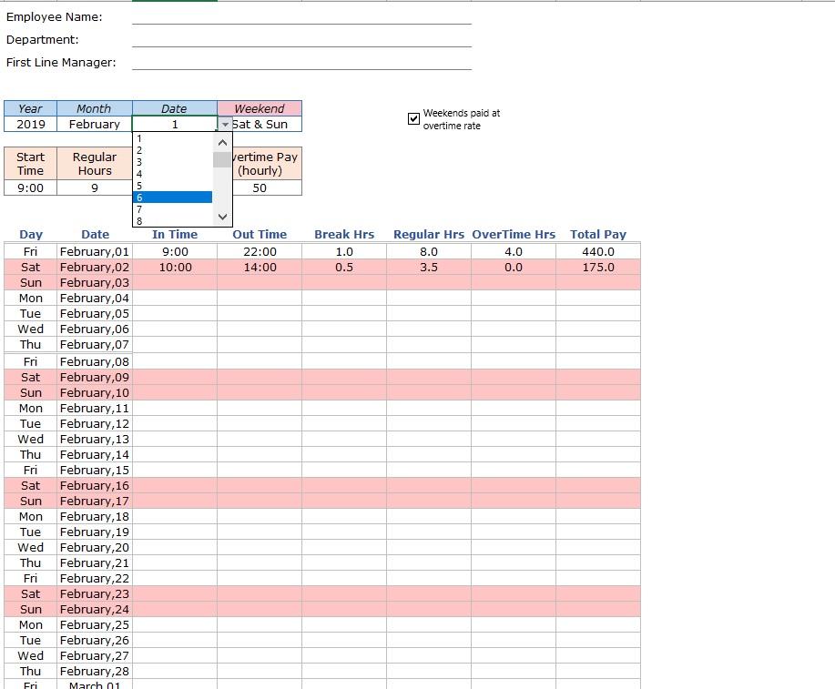 Employee Timesheet Pay Periods Date