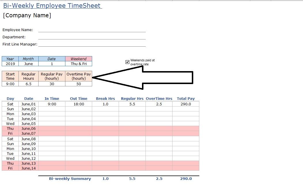 Employee Timesheet Regular Hours