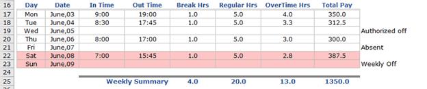 Employee Timesheet Tracking Example