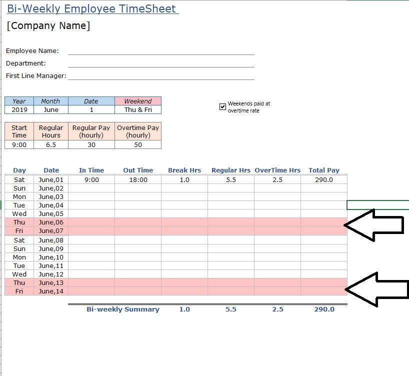 Employee Timesheet Visual Distinction