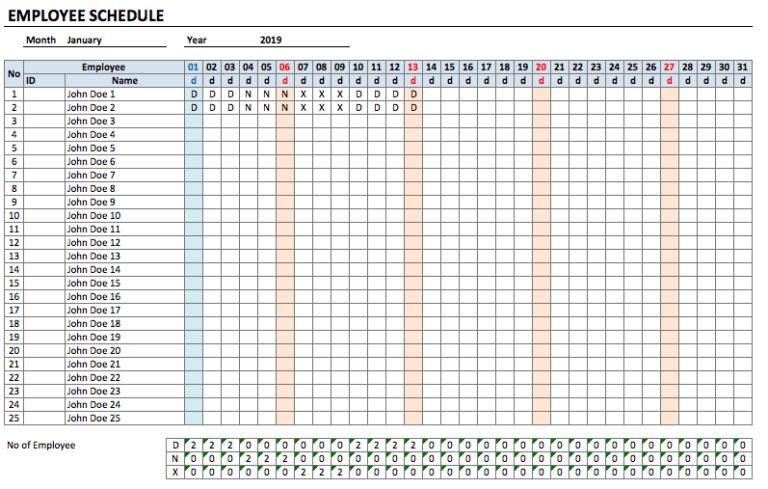 Employee Schedule Template monthly