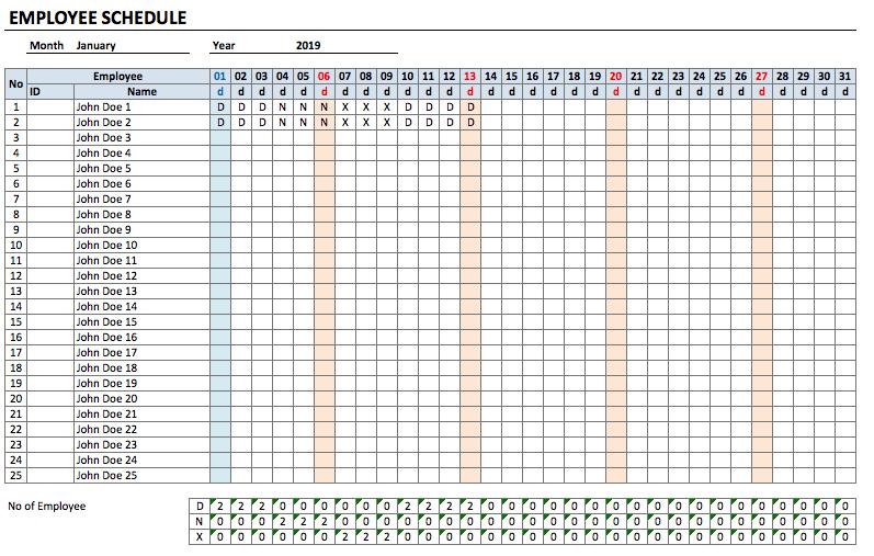 Employee Schedule Template
