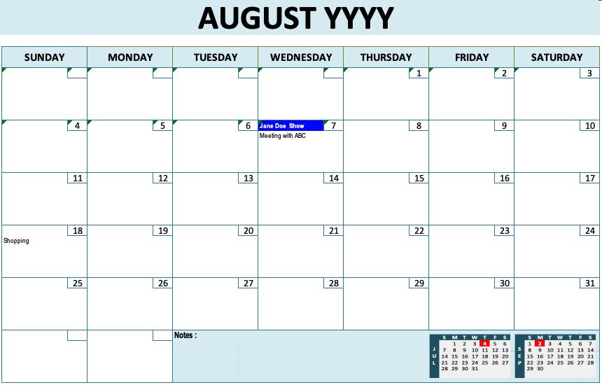 Event Calendar Template Blue Design