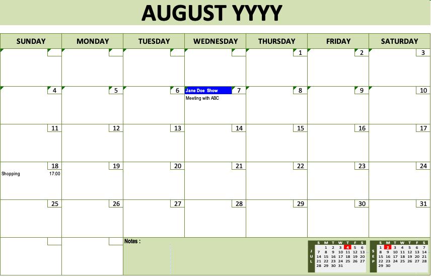 Event Calendar Template Green Design