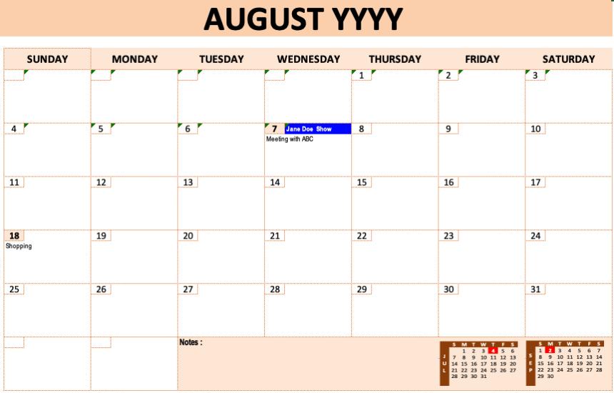 Event Calendar Template Peach Design