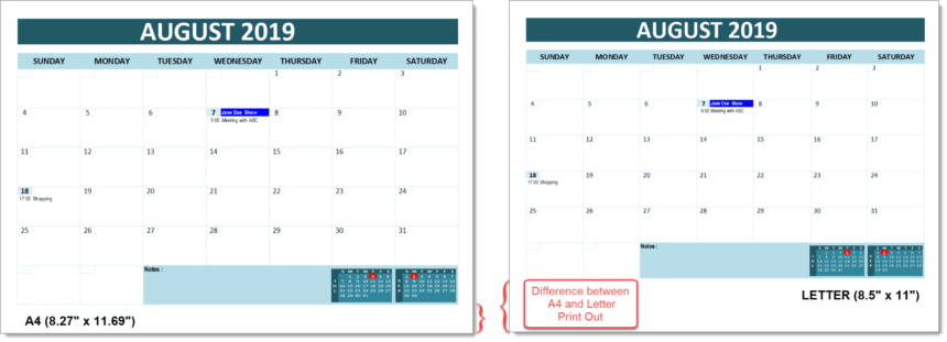 Event Calendar Template Print Comparison