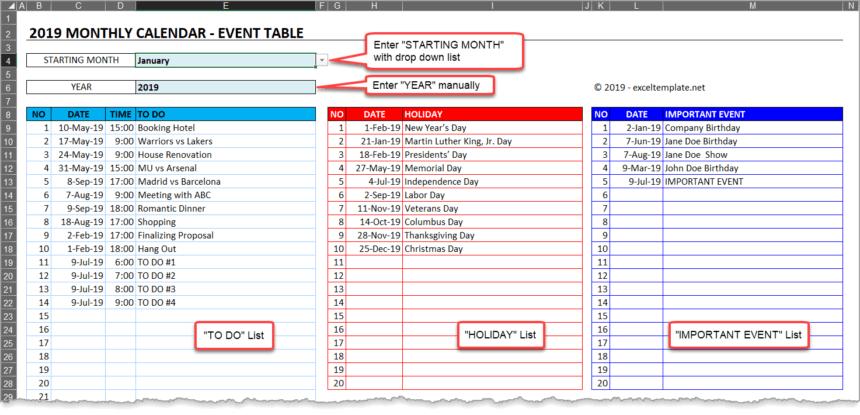 Event Calendar Template Setup