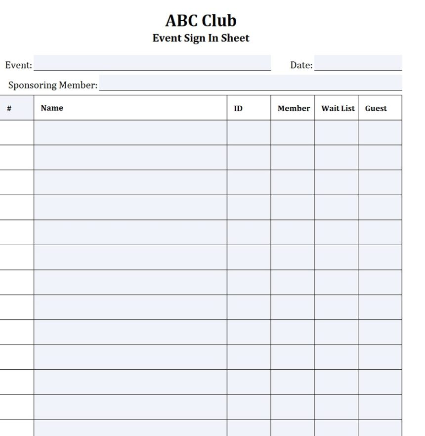 Event Sign-In Sheet Member Guests