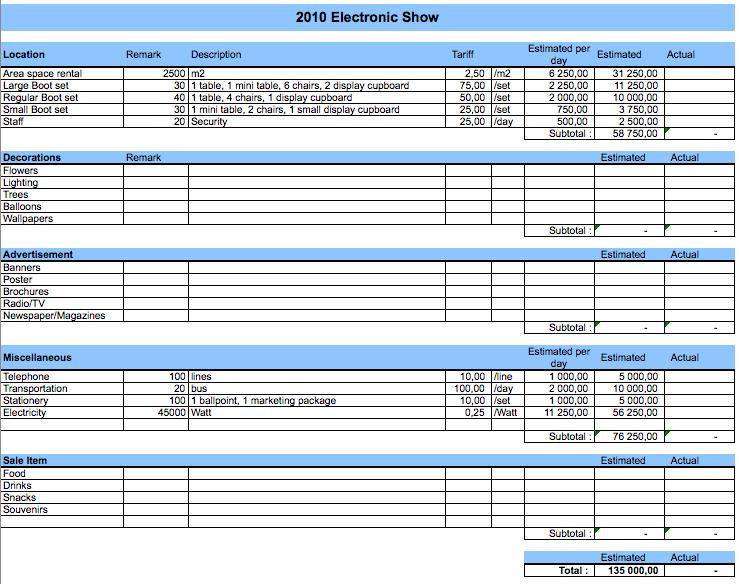 Event Budget expenses