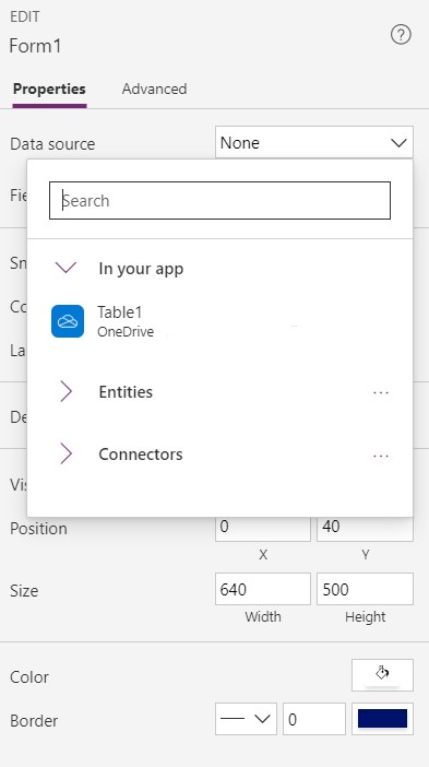 Excel Data Entry Form MS Power Apps Data Source
