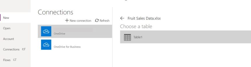 Excel Data Entry Form MS Power Apps Table Selection