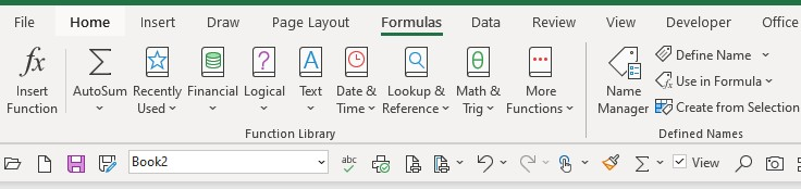 Excel toolbar with named manager
