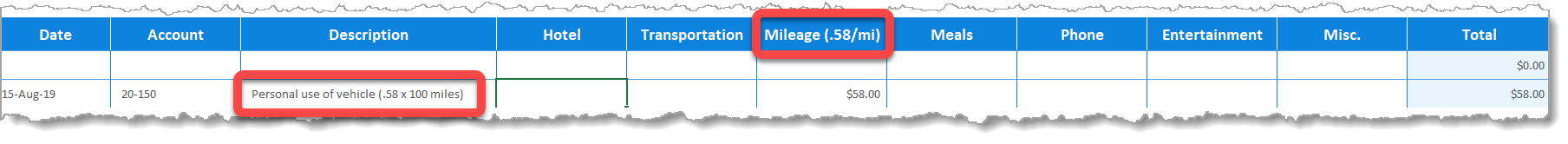 Expense Report Form Mileage