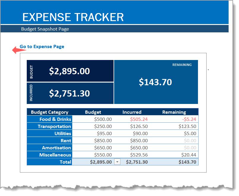 Expense Tracker Budget Snapshot