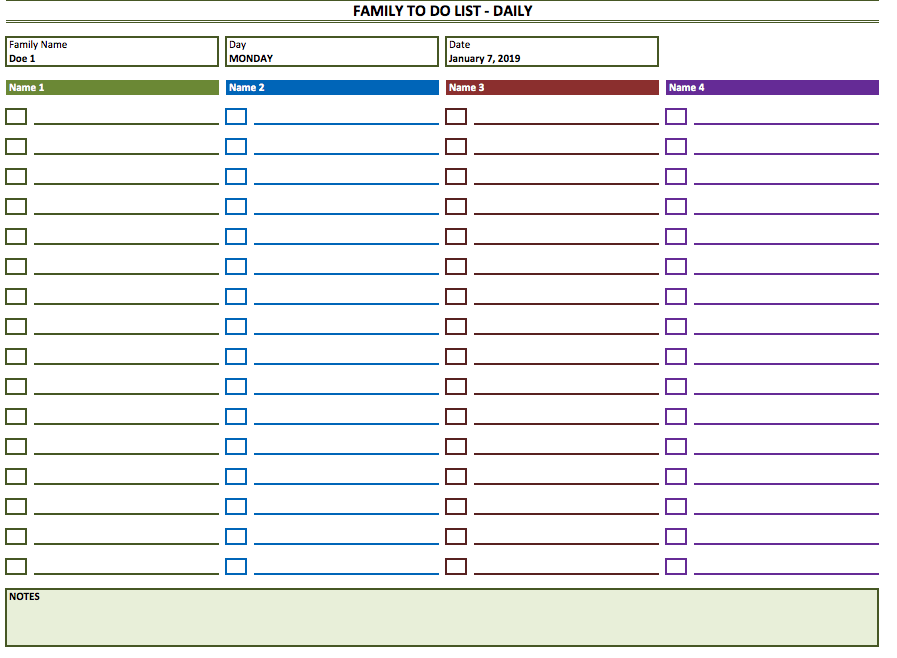 Family To Do List Weekly Template