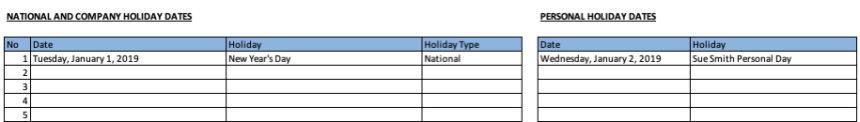 Free Gantt Chart Holidays Leave