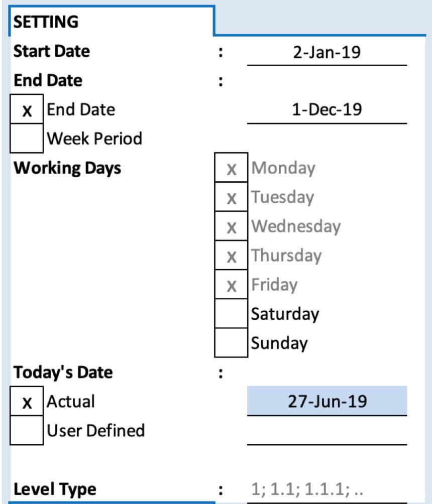 Free Gantt Chart Project Settings