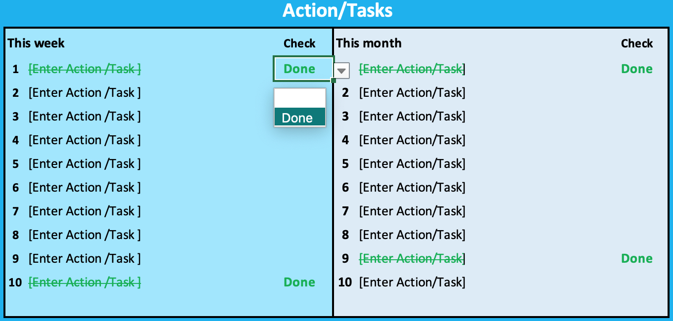 Goal Sheet Actions Tasks
