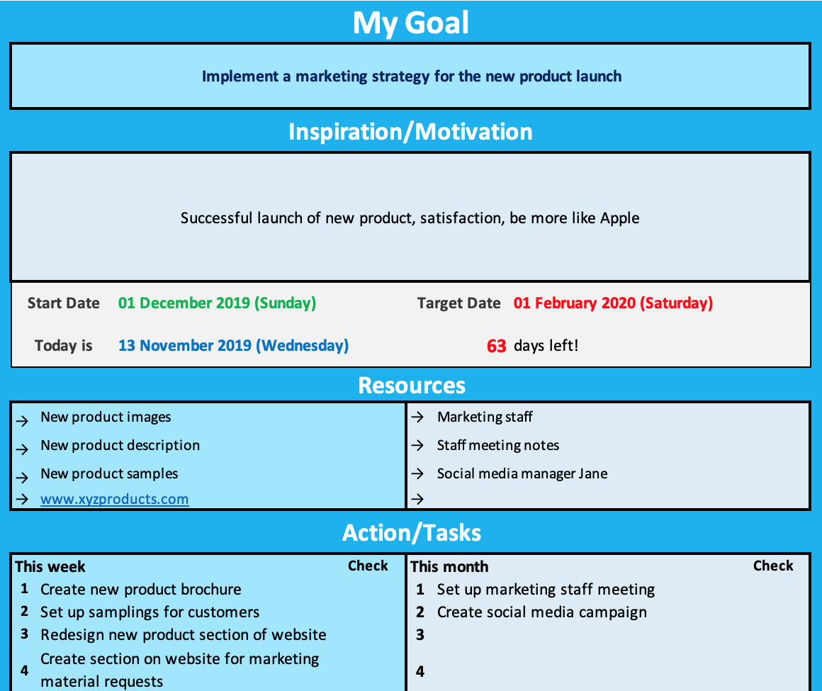 Goal Sheet Marketing Example