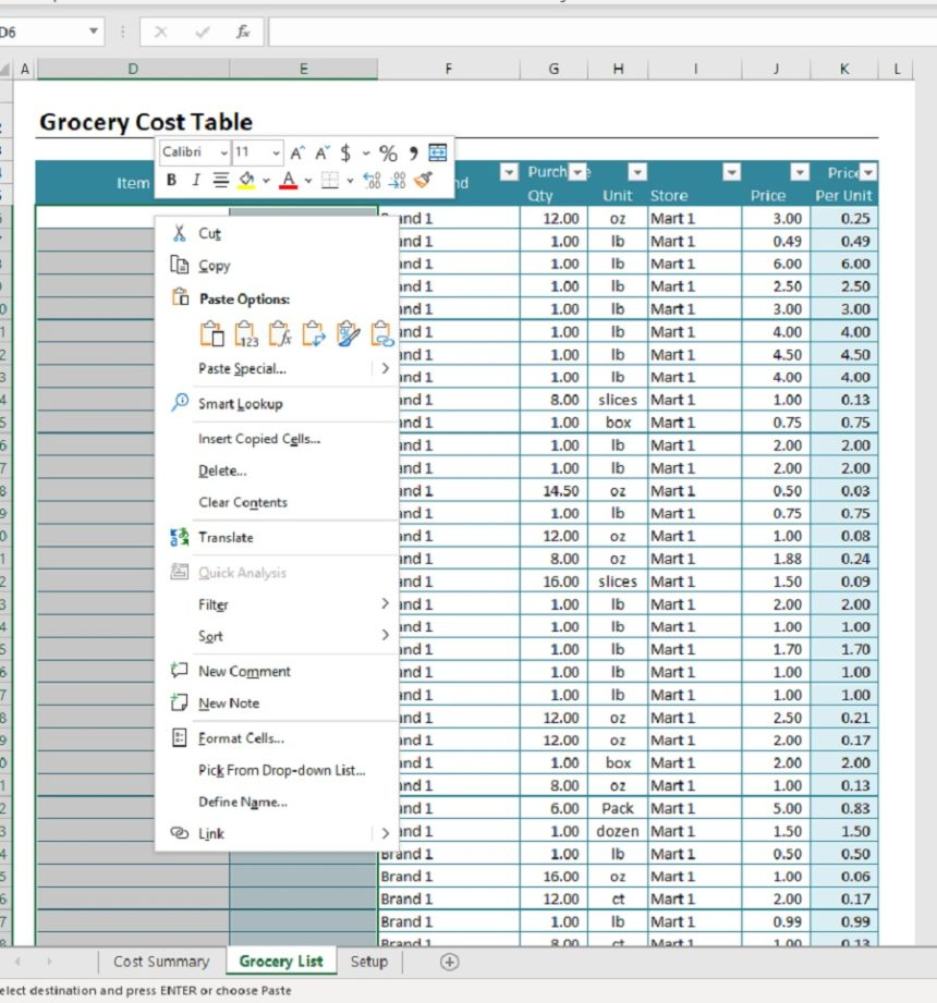 Grocery List Cost Estimator Paste Option