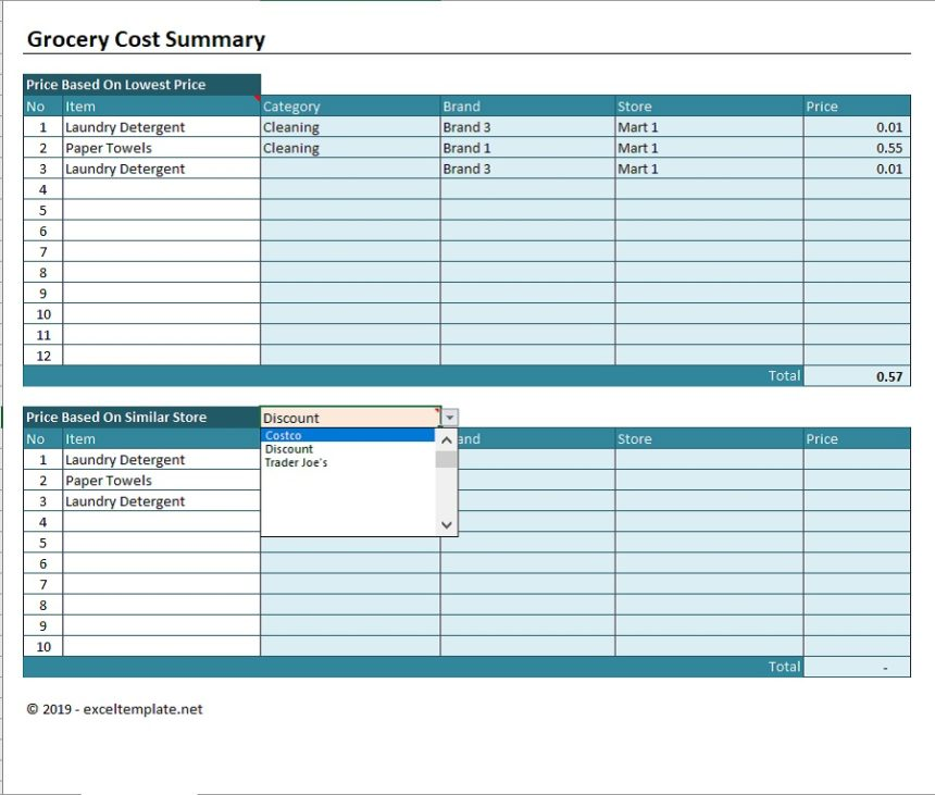 Grocery Price Comparison Spreadsheet Cost Summary Priced Based