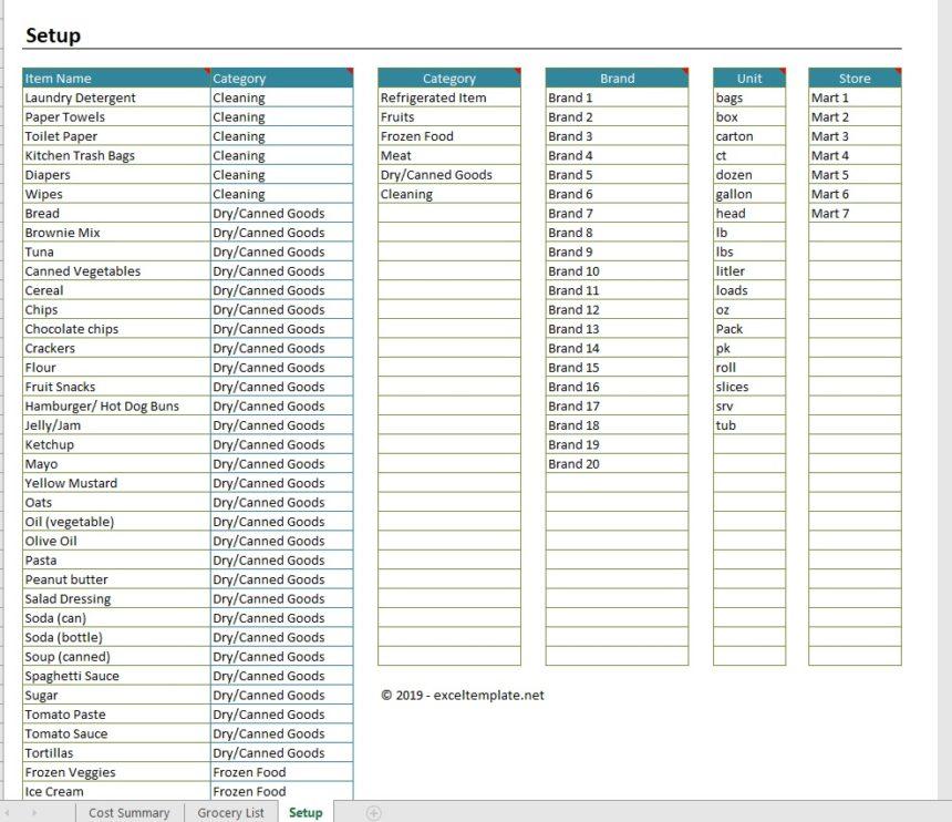 Grocery Price Comparison Spreadsheet Setup Worksheet