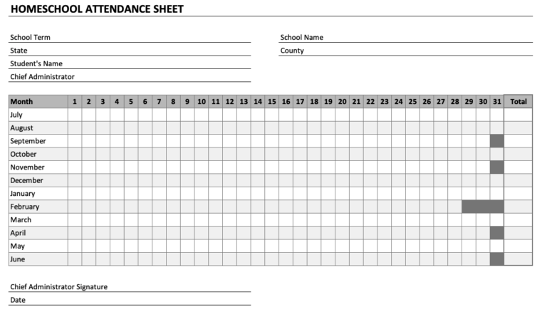 Homeschool Attendance Sheet Chart