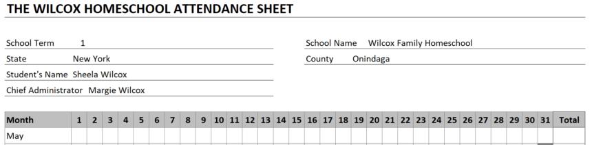 Homeschool Attendance Sheet Personalize