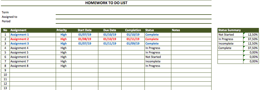 Homework List Template from spreadsheetpage.com
