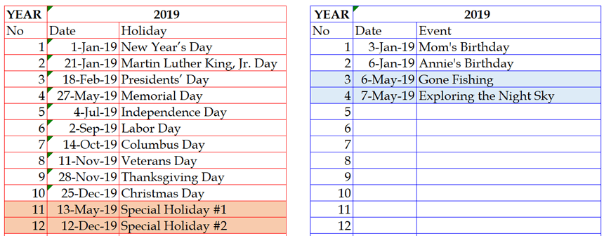 Hourly Daily Planner holidays and events