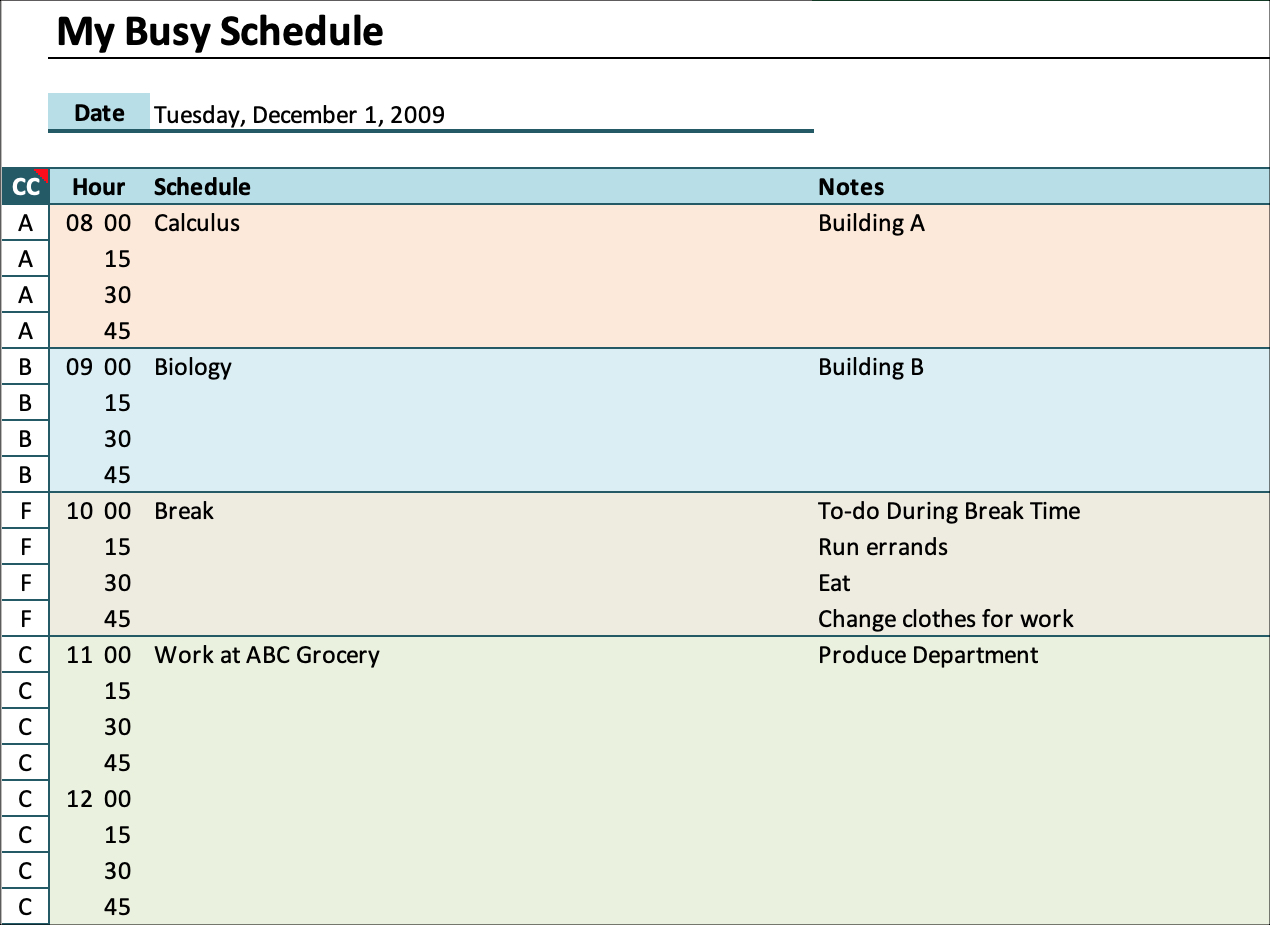 Hourly Schedule Daily Planner