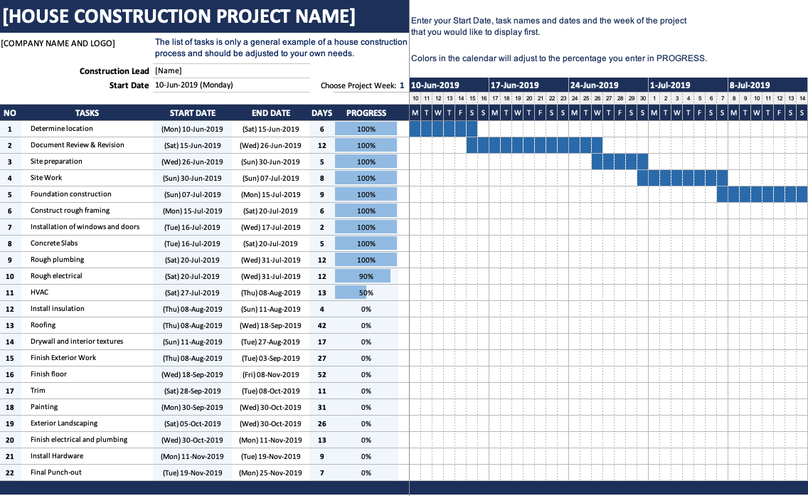 House Construction Gantt Chart