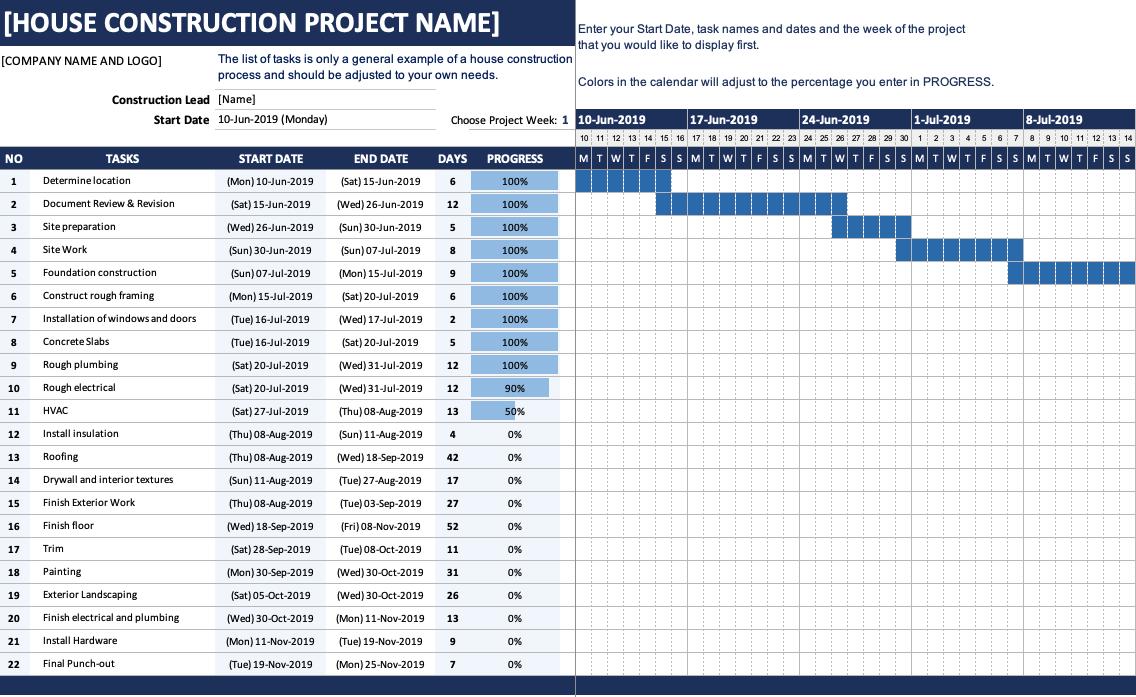 House Construction Gantt Chart