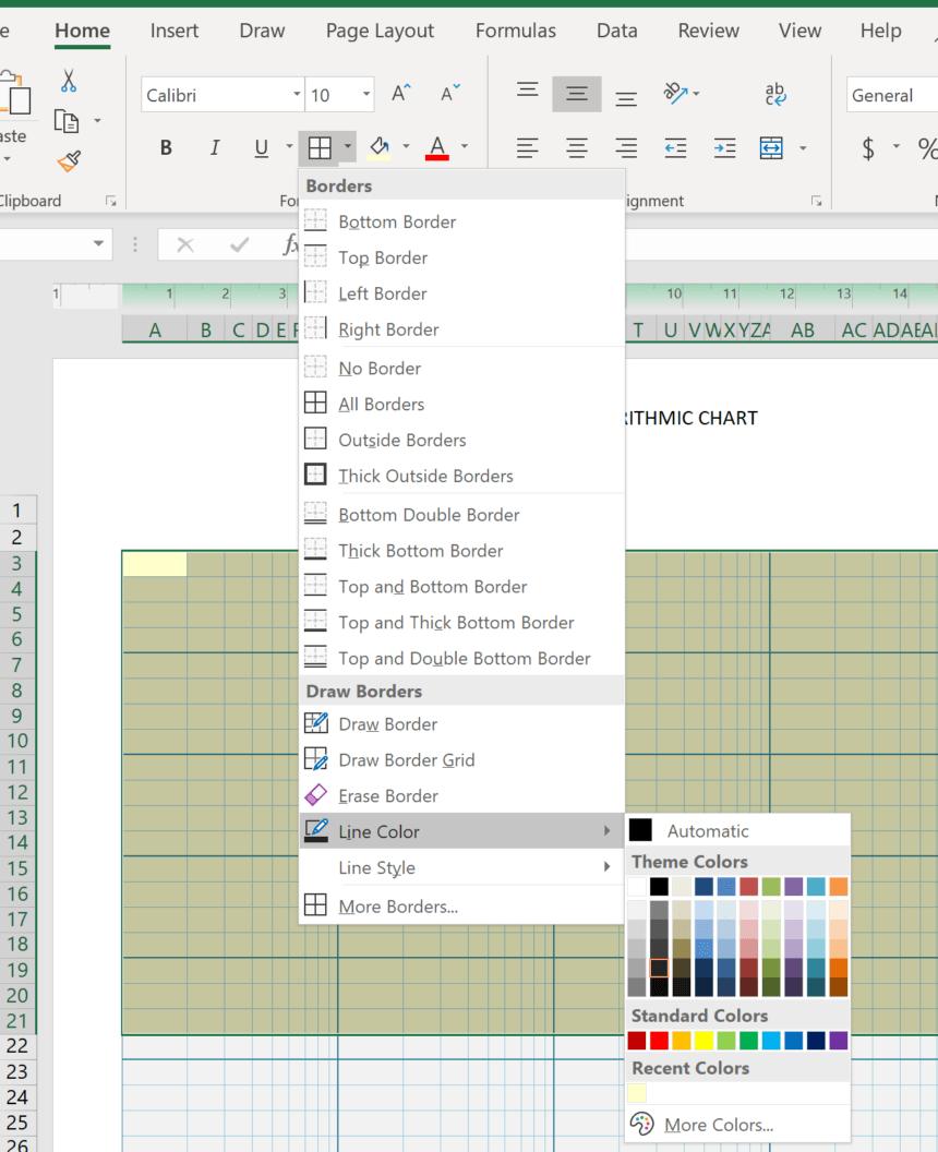 Logarithmic Graph Paper Template Line Color