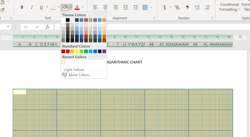 Logarithmic Graph Paper Template Theme Colors