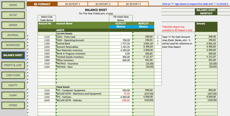 Manufacturing Business Accounting Templates balance