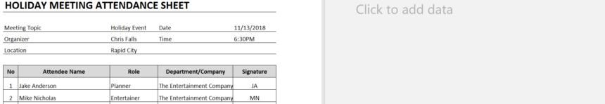 Meeting Attendance Sheet Add Data