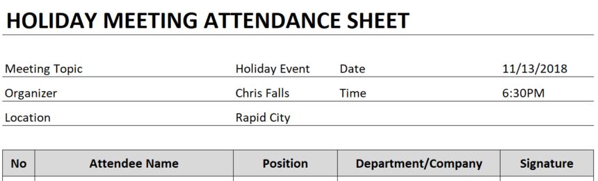 Meeting Attendance Sheet Header