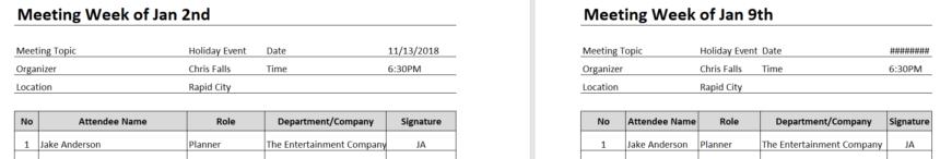 Meeting Attendance Sheet New Worksheet