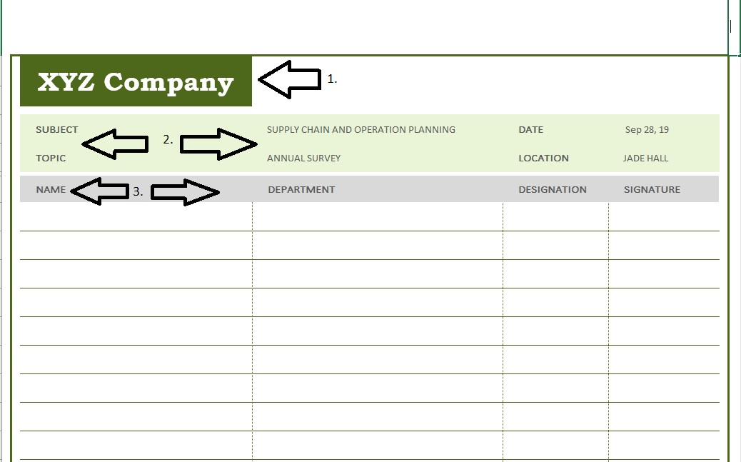Meeting Sign-In Sheet Internal