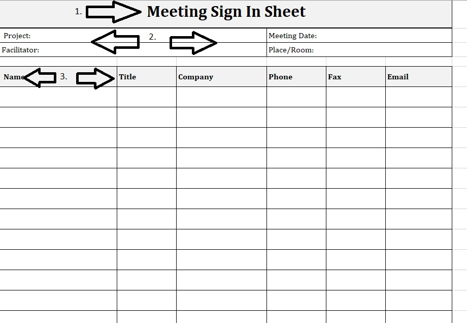 Meeting Sign-In Sheet Project Landscape