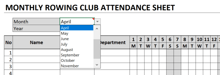 Monthly Attendance Sheet Month