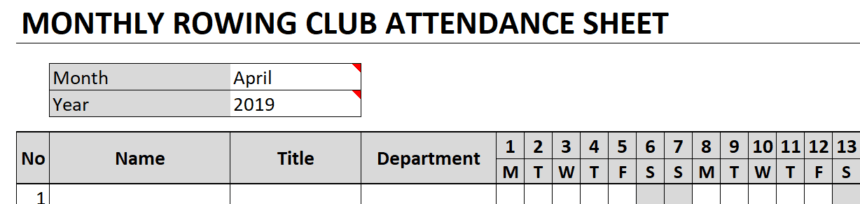 Monthly Attendance Sheet Title