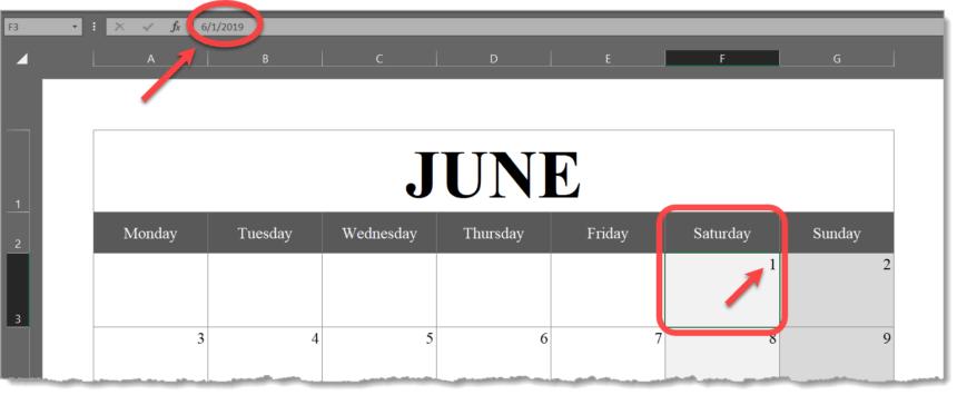 Monthly Calendar Template Landscape Formula