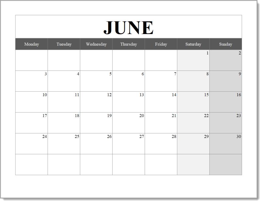 Monthly Calendar Template Landscape June