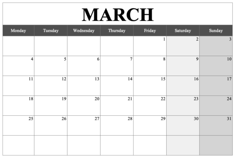 Monthly Calendar Template Landscape March