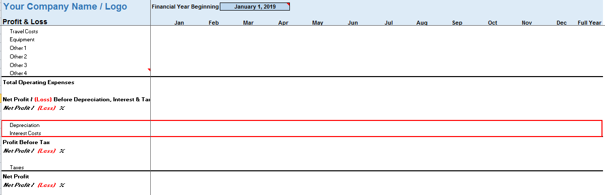 Monthly Profit Loss Template Interest Cost