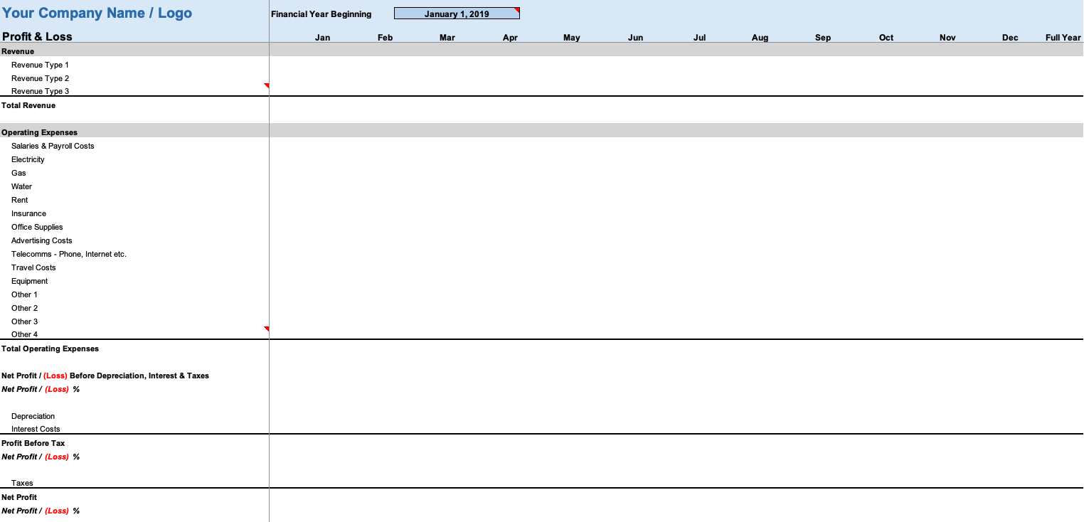 Monthly Profit And Loss Statement Template Free from spreadsheetpage.com