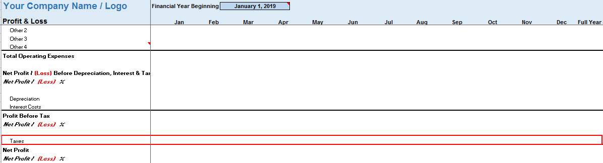 Monthly Profit Loss Template Taxes