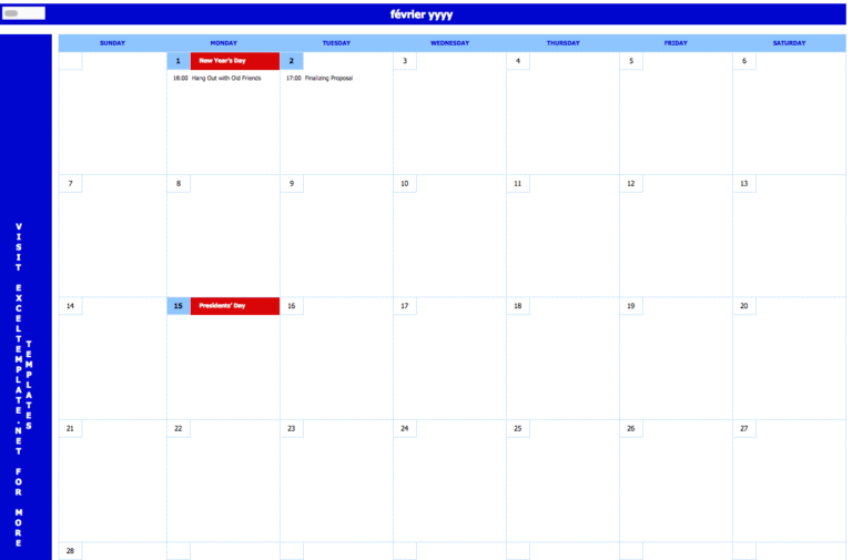 Monthly Event Calendar main
